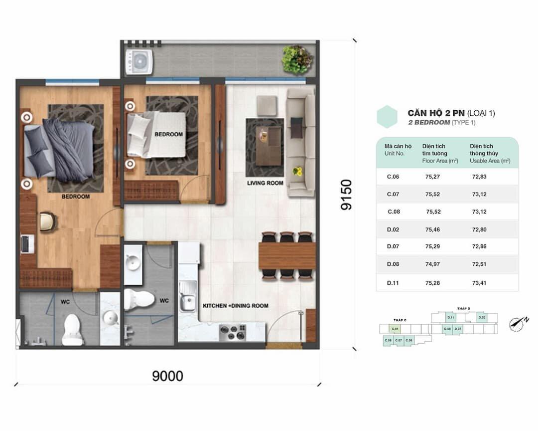 Căn hộ 2 phòng ngủ (loại 1) Charm City Bình Dương