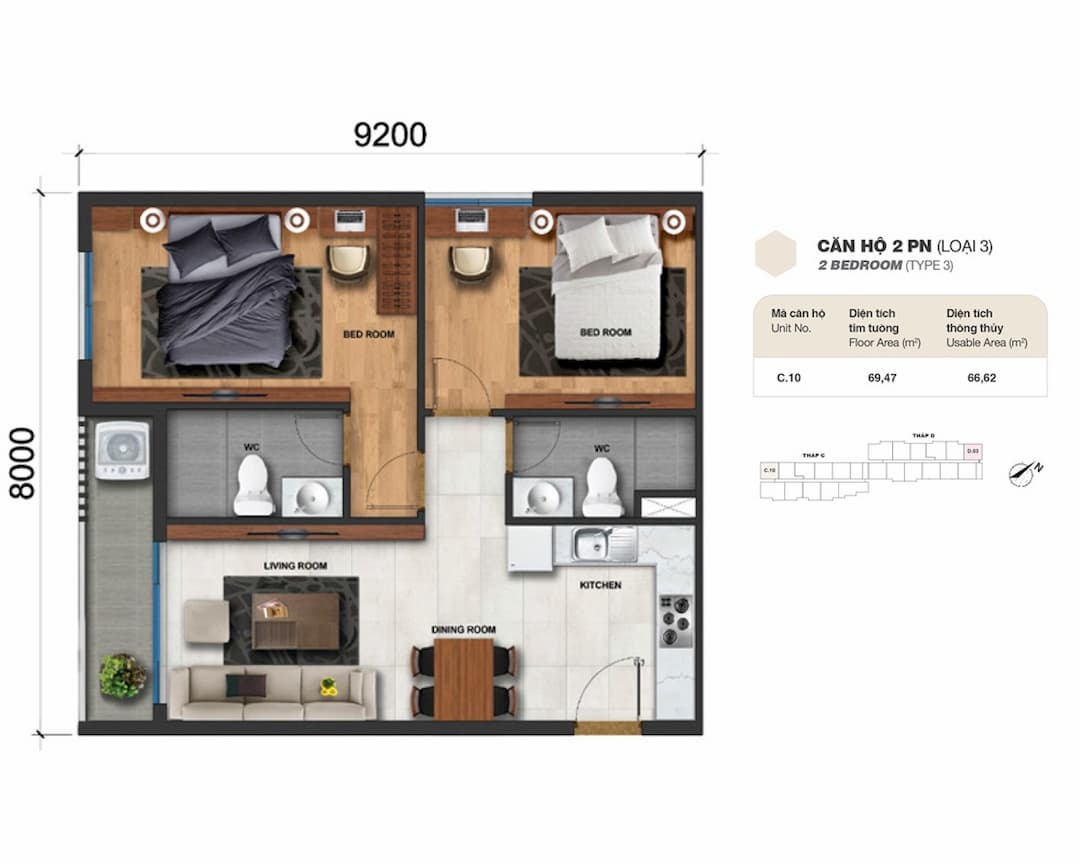 Căn hộ 2 phòng ngủ (loại 3) Charm City Bình Dương