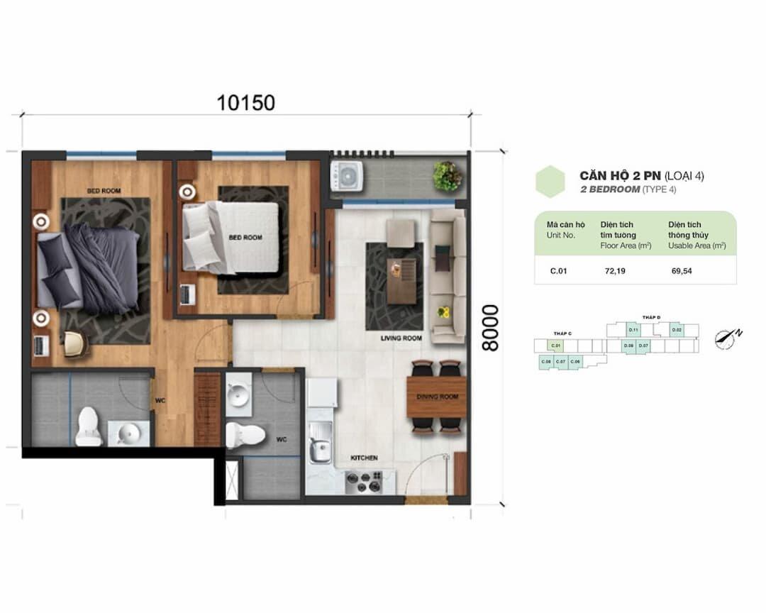 Căn hộ 2 phòng ngủ (loại 4) Charm City Bình Dương