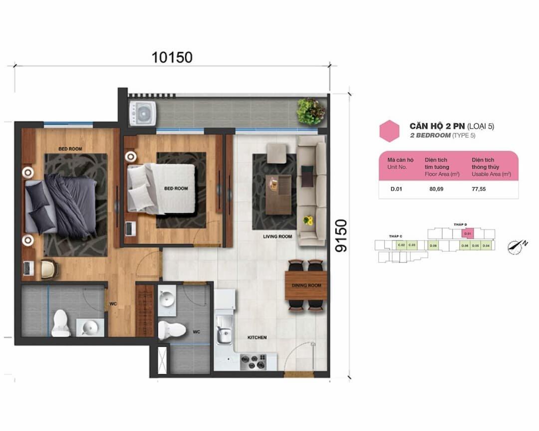 Căn hộ 2 phòng ngủ (loại 5) Charm City Bình Dương