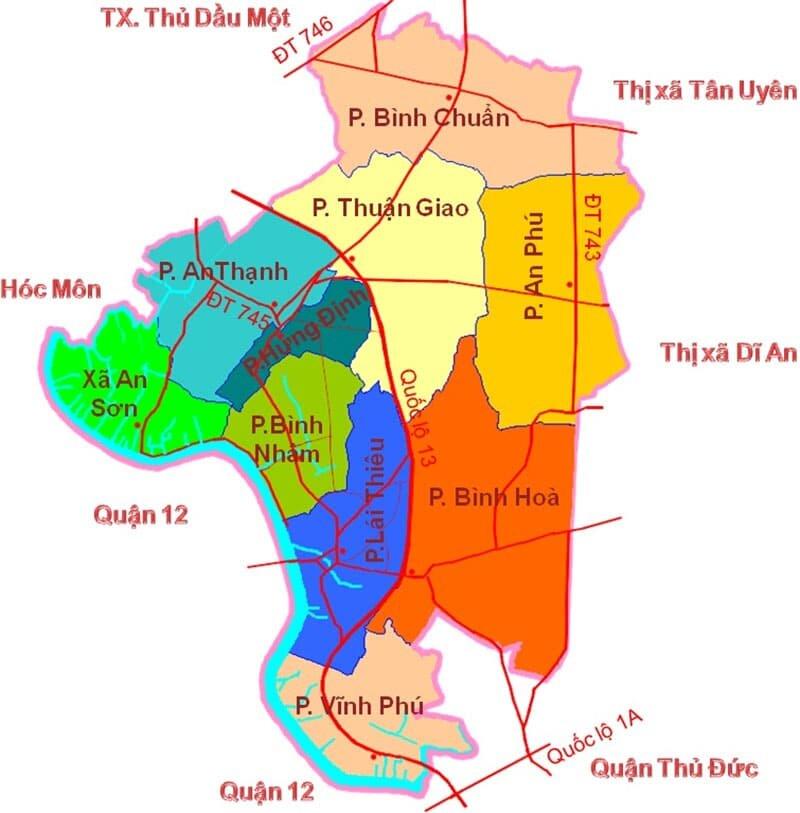 Bản đồ hành chính thị xã Thuận An