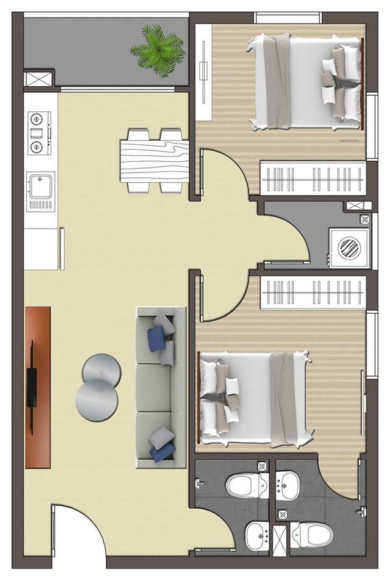Mặt bằng căn 1 phòng ngủ STPlus Riverview