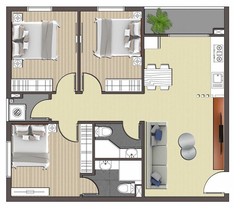 Mặt bằng căn 3 phòng ngủ STPlus Riverview