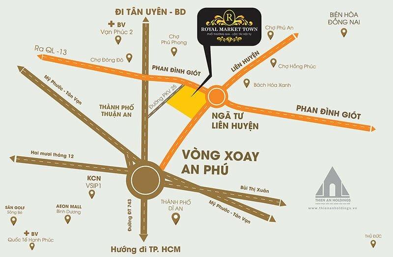 Vị trí Dự án Royal Market Town Thuận An