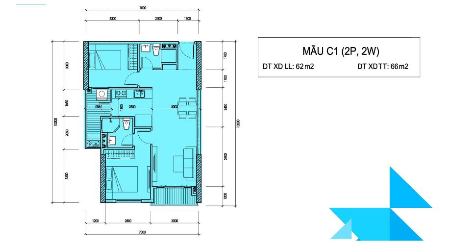 Mặt bằng thiết kế các mẫu căn hộ - Căn C