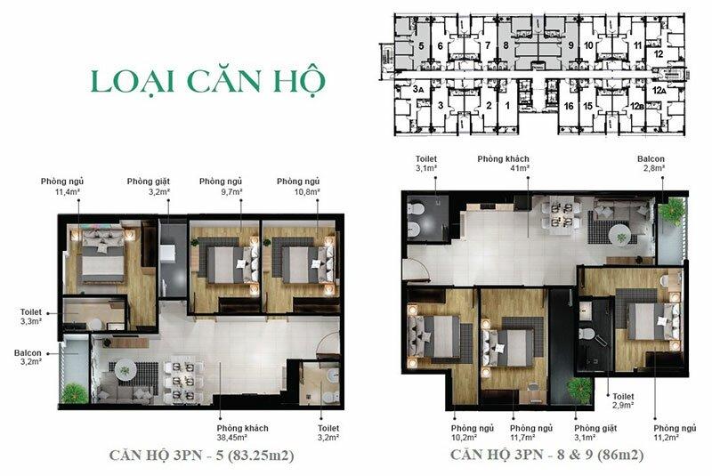 Thiết kế căn hộ EcoXuân Sky Residences - 3 phòng ngủ (loại 2)