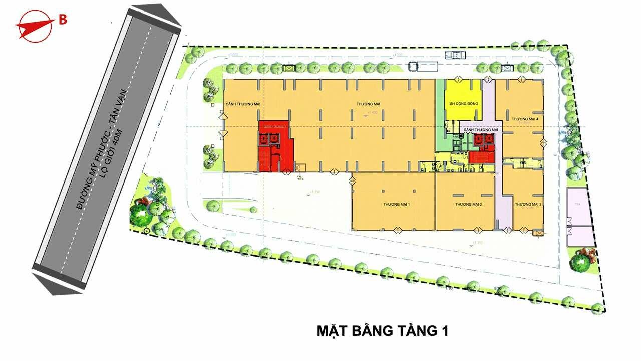 Mặt bằng tầng 1 dự án Minh Quốc Plaza
