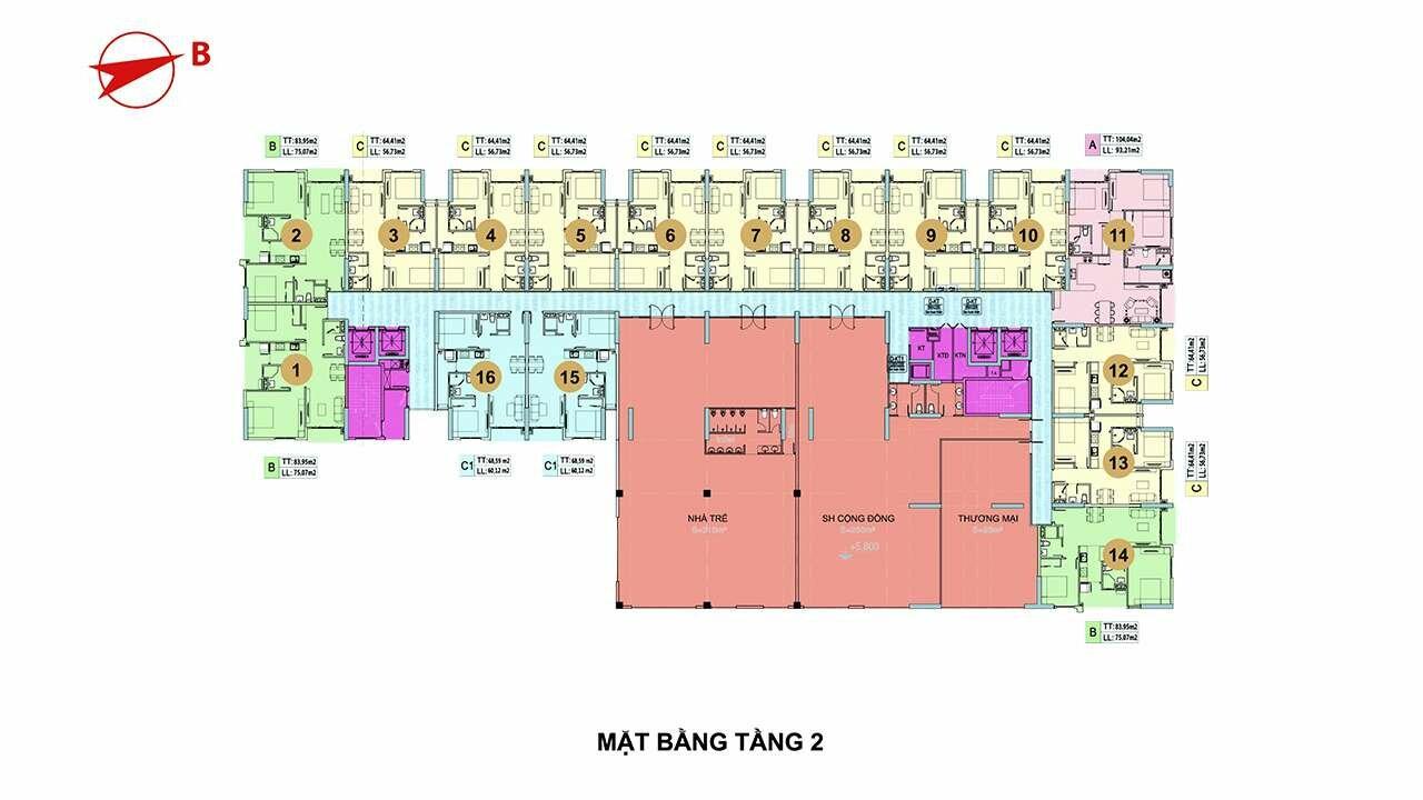 Mặt bằng tầng 2 căn hộ Minh Quốc Plaza