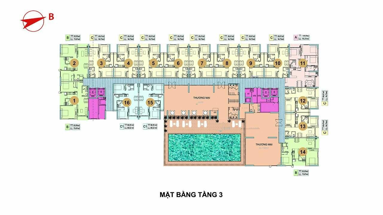 Mặt bằng tầng 3 căn hộ Minh Quốc Plaza