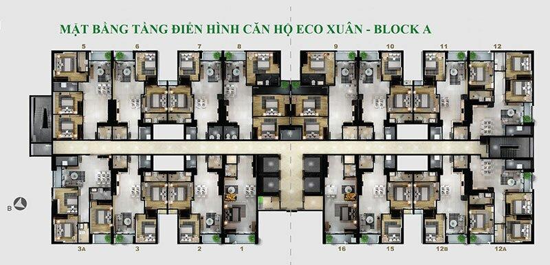 Mặt bằng tầng điển hình căn hộ EcoXuân Sky Residences