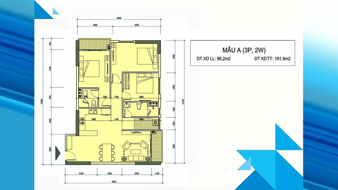 Thiết kế căn hộ A - Minh Quốc Plaza