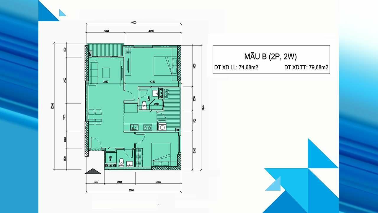 Thiết kế căn hộ B - Minh Quốc Plaza