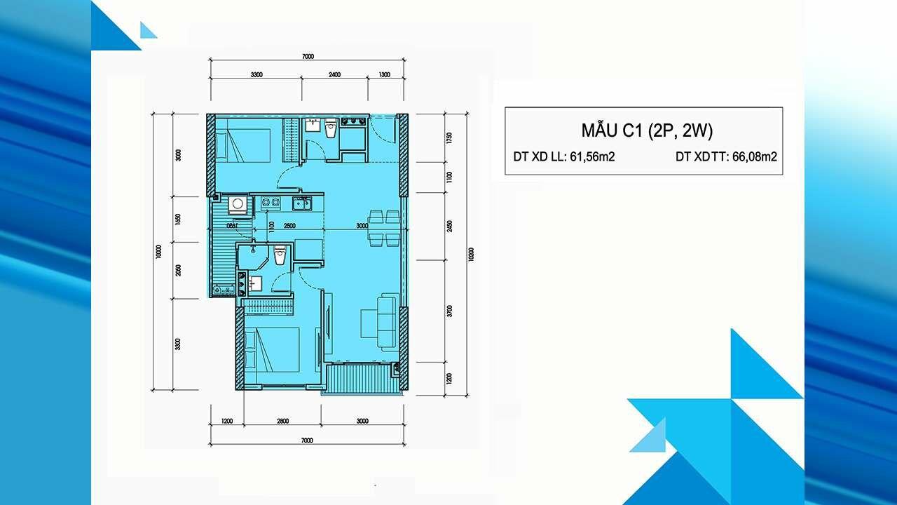 Thiết kế căn hộ C1 - Minh Quốc Plaza