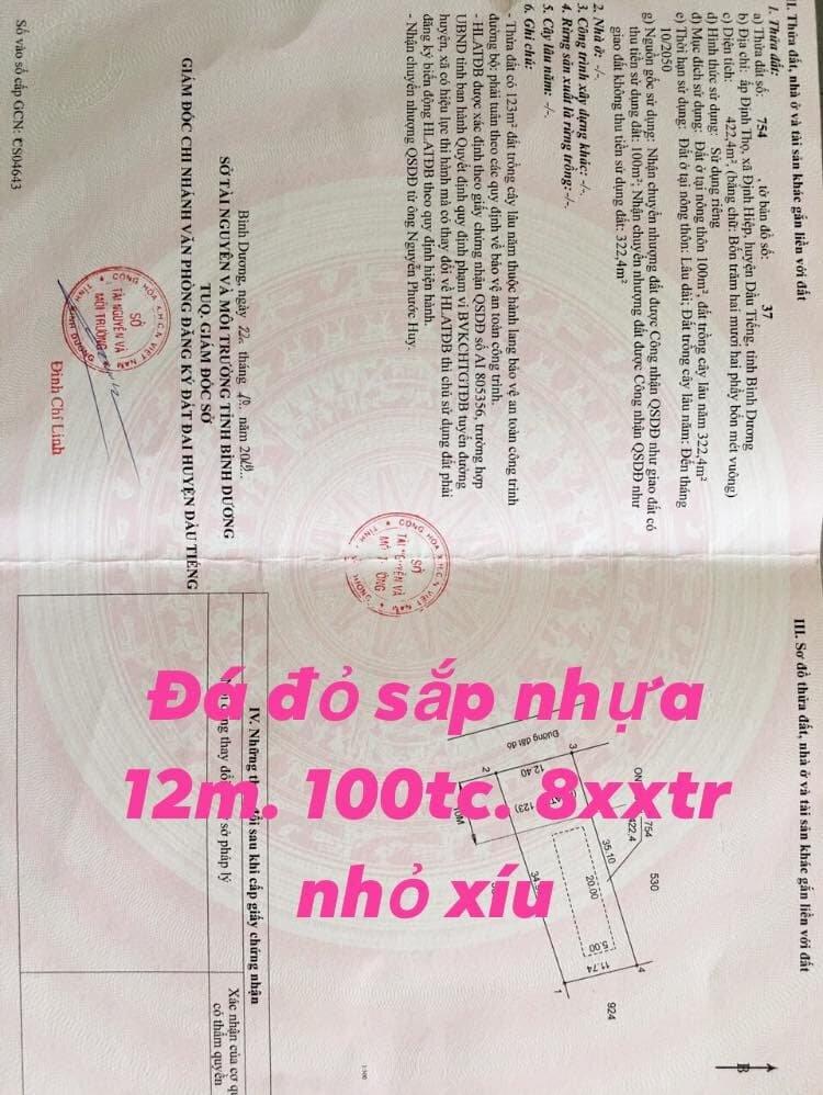 Bán đất xã Định Hiệp-Dầu Tiếng giá tốt