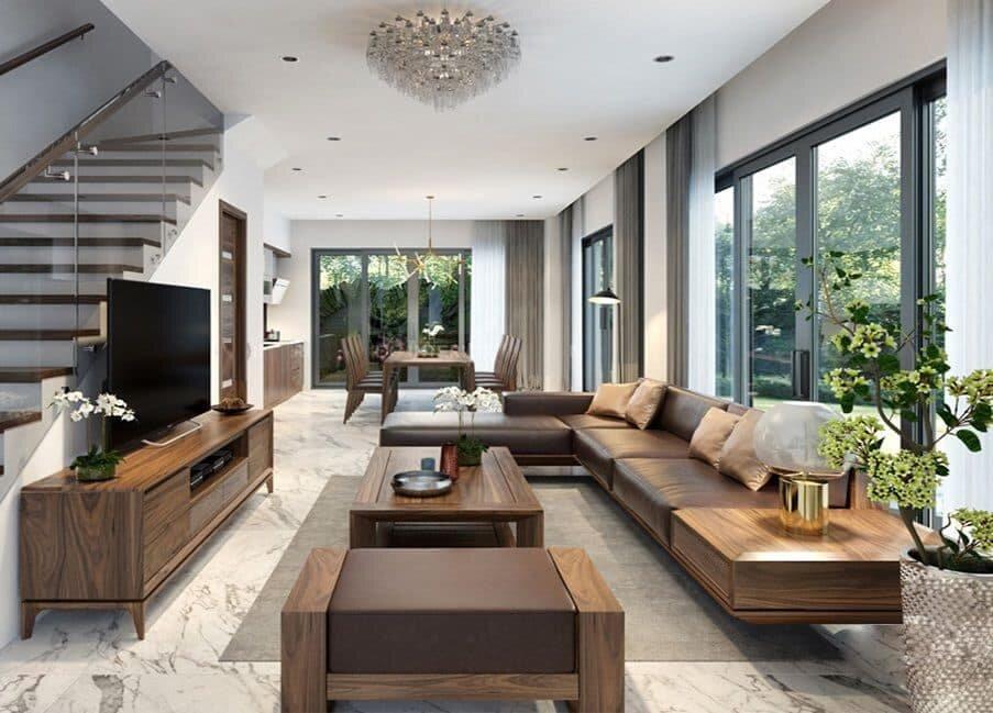 Những mẫu sofa gỗ chữ L đẹp cho phòng khách hiện đại