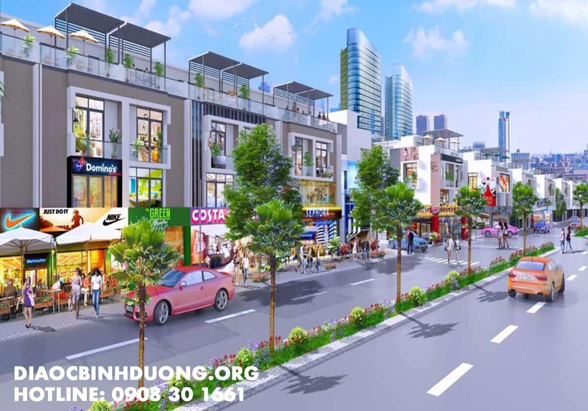 Phối cảnh dự án khu nhà phố thương mại Hoàng Lộc