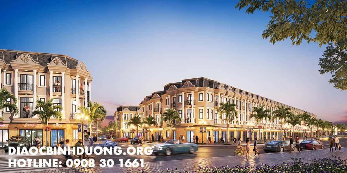 Phối cảnh nhà phố Hoàng Hùng 5 Dĩ An Bình Dương