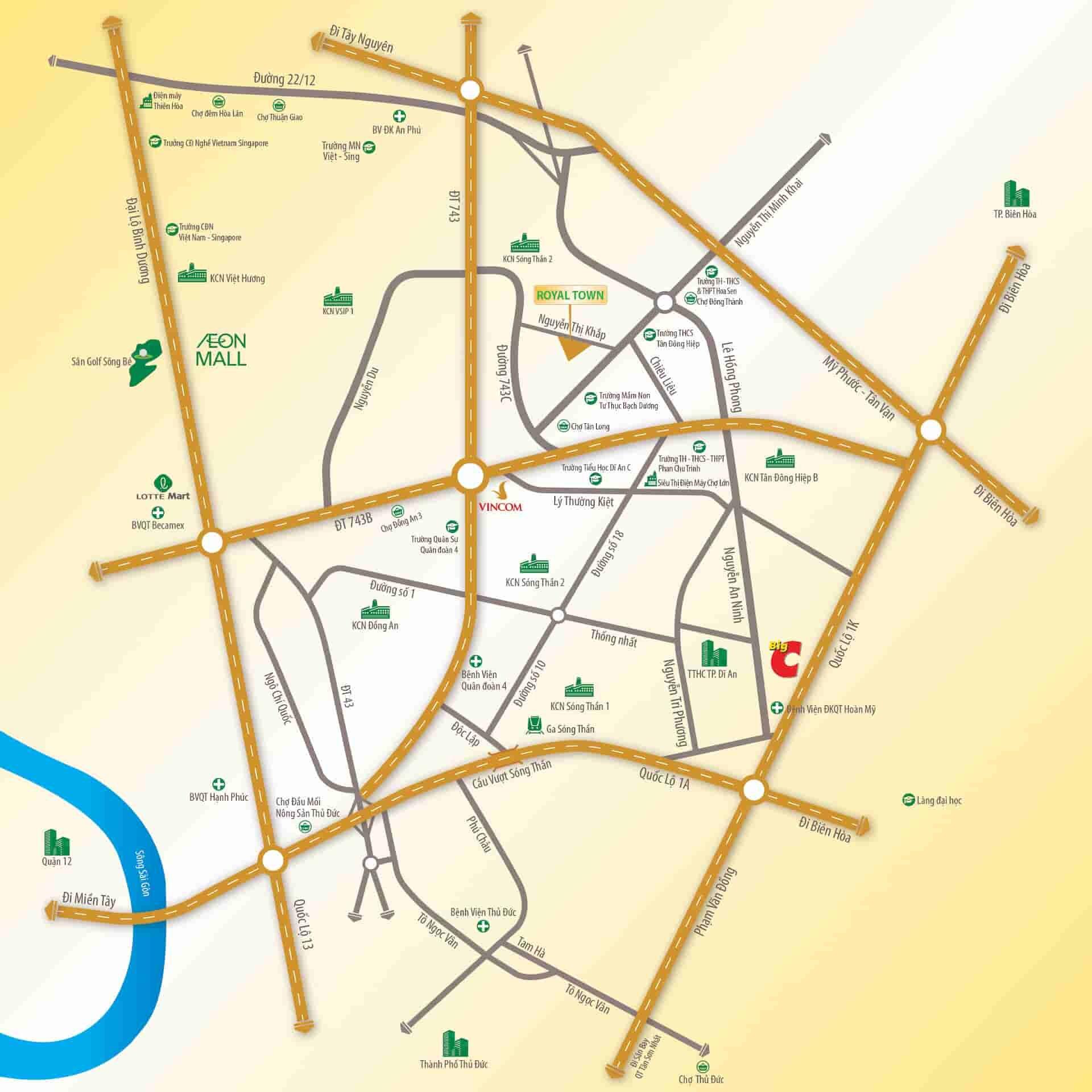 Vị trí dự án Royal Town Nguyễn Thị Khắp, Tân Đông Hiệp, Dĩ An
